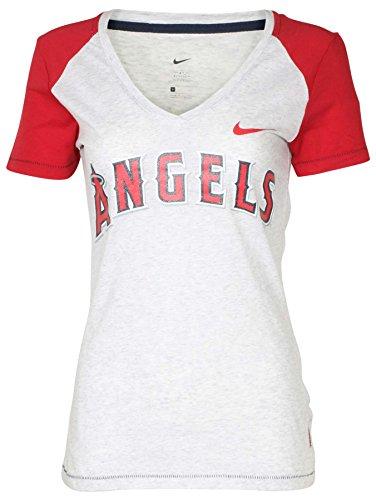 NIKE Women's MLB Los Angeles Angels V-Neck T-Shirt-Heather Grey-XS