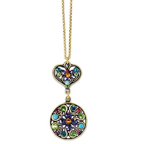 Anne Koplik Multi Color Stoned Heart Pendant Necklace