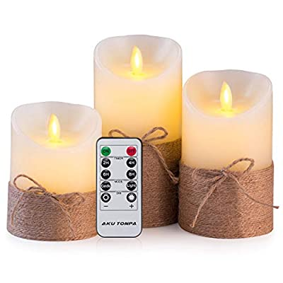 Flameless Candles Battery Operated Pillar Real Wax Flickering Moving Wick Electric LED Candle Gift Set with Remote Control and Timer by Aku Tonpa, Ivory Wax with Hemp Rope
