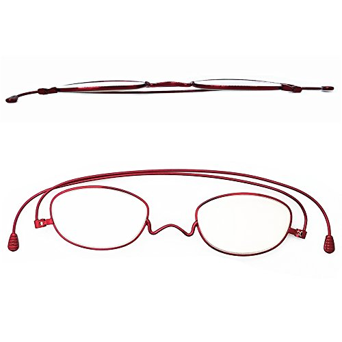 (Metal Smart Reading Glasses Impeccable Quality,Granny Look Timeless,Lightweight Foldable for Woman No Glare Scratch Resistance,Anti-Eyestrain Urban Thin only 2mm PD+1.5 (Rose Red, Strength+1.5))