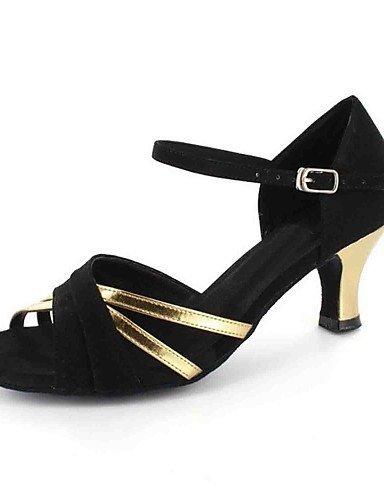 ShangYi Chaussures de danse(Argent / Or) -Personnalisables-Talon Personnalisé-Similicuir-Latine Gold