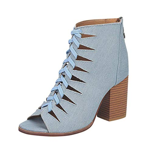 Boomboom Women Shoes, Fashion Autumn Winter Women Denim Fish Mouth Martin Boots Shoes Blue US ()
