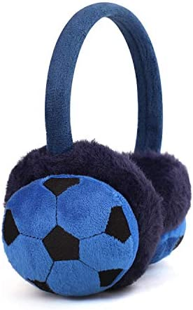 Kids Earmuffs Football Pattern Ear Warmers Winter Warm Soccer Design Earmuffs Plush Cartoon Childrens Earmuffs Fluffy Faux Fur Ear Warmers Protection Xmas Birthday Gifts