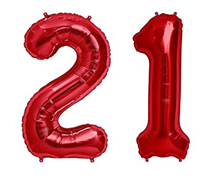 C Spin 40 INCH Big Large 21 Red Number Foil Balloon 40quot 21st Birthday