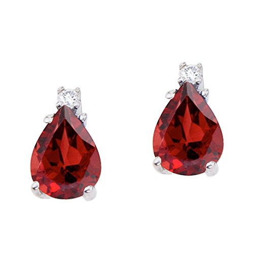 FB Jewels Solid 14k White Gold Studs Genuine Red Birthstone Pear Shaped Garnet and Diamond Earrings (2.6 - Pear Garnet Earrings Shaped
