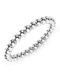 925 Sterling Silver 2MM Eternity Bead Wedding Band Ring