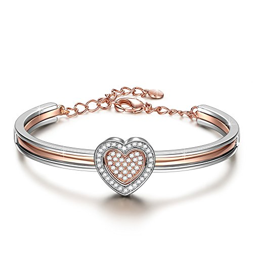 Gift for Women J.NINA Rose-Gold Plated Cupid Heart Bangle