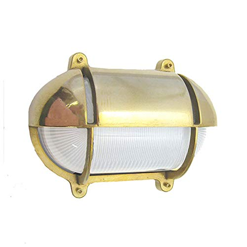 Oval Bulkhead Wall Sconce (Unlacquered Brass, Exterior Use (Wet)) - Light Fixtures Oval Bulkhead Cage