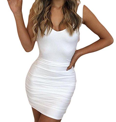 Da Donne Jaycargogo Delle Di Collo Delle Bianco V Partito Sexy Backless Vestito Spaghetti Cinghie Aperto Spalla 4qqHUT