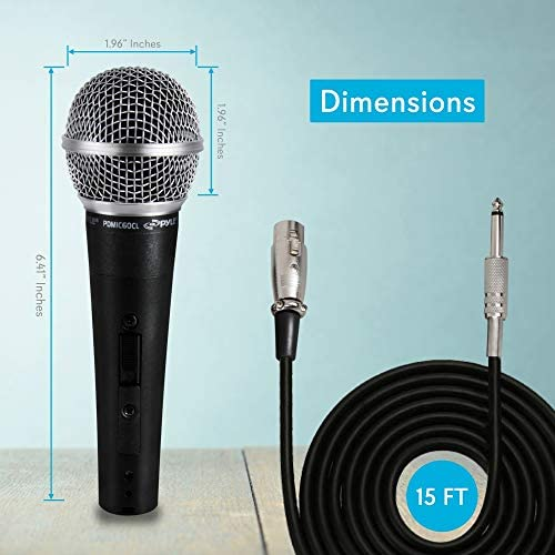 Pyle PDMIC59 - Professional Dynamic Vocal Microphone - Cardioid Unidirectional Handheld Mic - XLR Connection