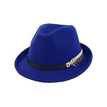 RouPian - Sombrero de vestir - para mujer Azul azul Talla única ... 11dfea02d659