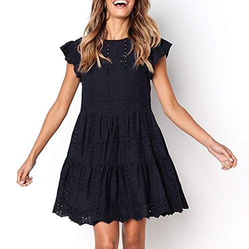 Haalife◕‿Ruffle Solid Dress for Women Summer Bohemian Short Sleeve Loose Swing Casual Tunic Tops Fitting Dress Navy (Best Pellet Rifles 2019)