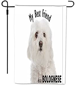 Rikki Knight My Best Friend is a Bolognese Dog Design Decorative House or Garden Full Bleed Flag, 12 by 18-Inch