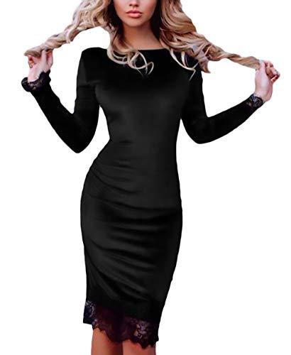Vestito Autunno Rotondo Semplice Di Del Glamorous Party Matita Lunga Solidi  Manica Giuntura Qualit Pacchetto Tubino A Vestiti Collo Pizzo Donna ... 96a0cb8c551
