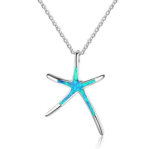 YAZILIND Opal 925 estrellas de mar de plata collar colgante de moda gema azul cadena de clavícula regalo del día de san...
