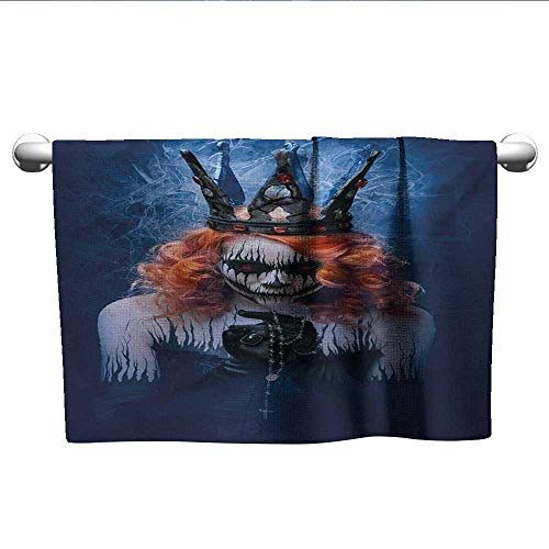 alisoso Queen,Sweat Towel Queen of Death Scary Body Art Halloween Evil Face Bizarre Make Up Zombie Bath Towels for Kids Navy Blue Orange Black W 14