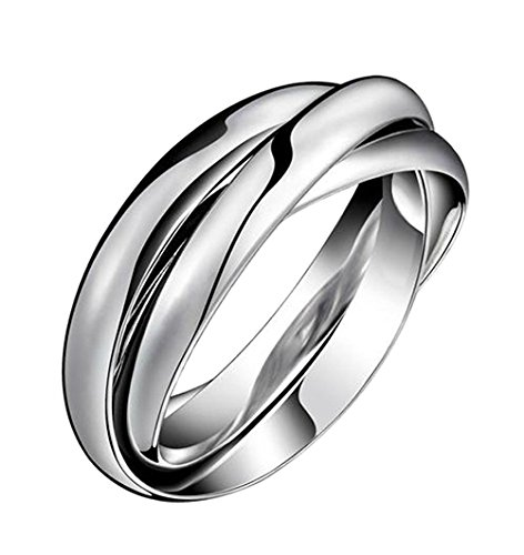 (HIJONES Women's Stainless Steel Tri Color Interlocked Spinner Ring, Silver Tone Size 7)