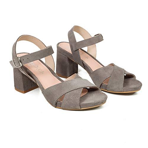 Hechos Gris Tacón Plataforma Zapatos Ancho Cómodas Plantilla Con Piel Confort Mujer Mimao Mujer Sandalias España Gel En Sandalia STFgqwTA