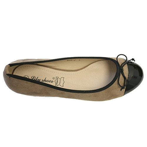 Marron Shoes Taupe donna Ballerine Lily TFt7wq0UF