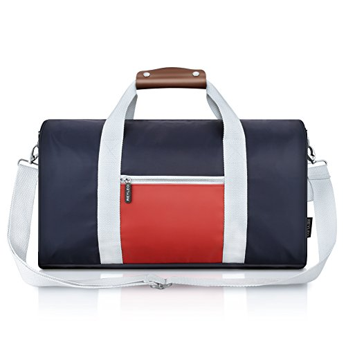 REYLEO Small Duffle Bags Men Women, Nylon Sports Gym Bag Water Resistant With Leather Handle, Weekender Tote For Short Trip -27L RT02 (Bag Delta Quick)