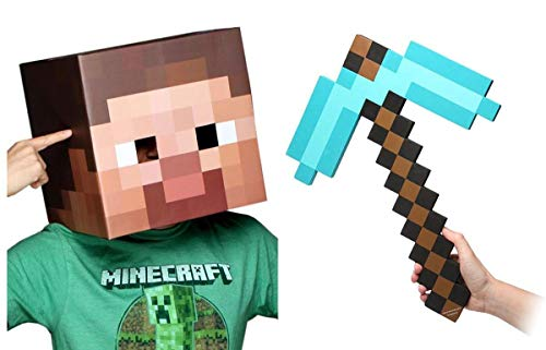 (Minecraft Steve Head & Diamond Pickaxe Costume)