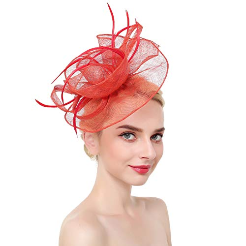 (Vintage Flower Mesh Feathers Fascinators Hat for Women Kentucky Derby Cocktail Tea Party (Red))