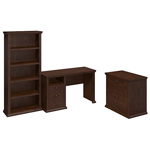 Yorktown Home Office Desk with Bookcase and Lateral File Cabinet (Office Home Corner Furniture Desk)