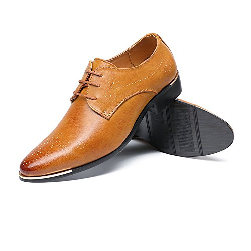 uomo Leather amp;Baby Sunny Hollow Scarpe PU Brown Oxford stringate Color da Resistente Casual Business Suola suola Oxford Carving Dimensione Brown UE 44 all'abrasione AfIrf8q