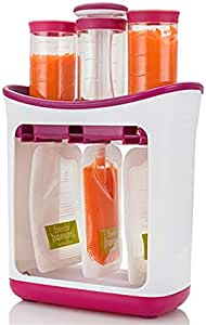 Fresh Squeezed Squeeze Station Baby Weaning Food Puree Pouches, for Baby, Travel, Business Trip, Easy to Carry. Take it on The Go, Single Use Silicone Pouches. (Squeeze Station)