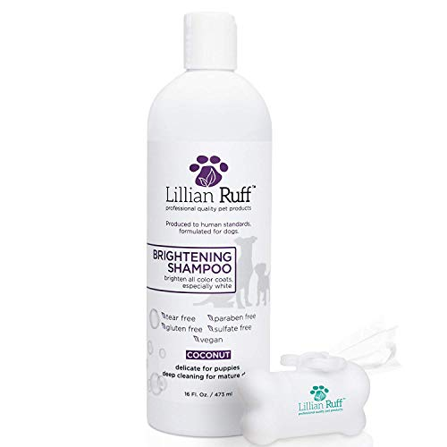 Lillian Ruff Brightening & Whitening Shampoo for Dogs – Tear Free Coconut Scent with Aloe for Normal, Dry & Sensitive Skin – Adds Shine & Luster to Coats (16 (Pearl Dog Shampoo)