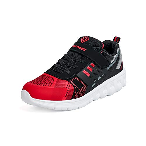 (DREAM PAIRS Boys KD18002K Lightweight Breathable Running Athletic Sneakers Shoes Red Black, Size 11 M US Little Kid)