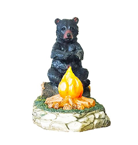 Large Black Bear By The Campfire Table Night Light - Rustic, Cabin, Lodge, Country Decor by DeLeon Collections (Image #1)