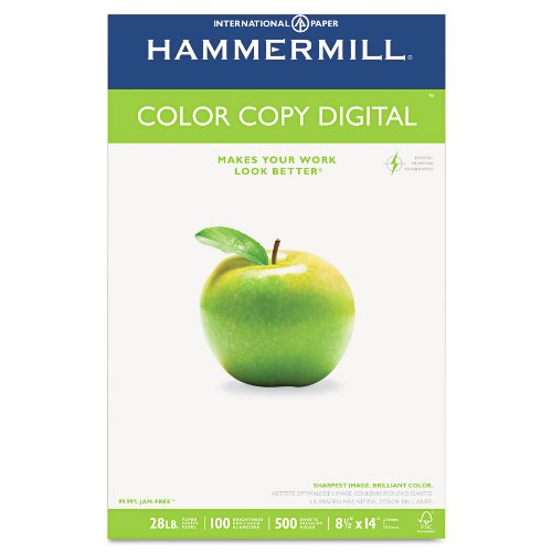 Hammermill Paper, Color Copy Digital, 28lb, 8.5 x 14, legal, 100 Bright, 500 Sheets / 1 Ream (102475), Made In The USA