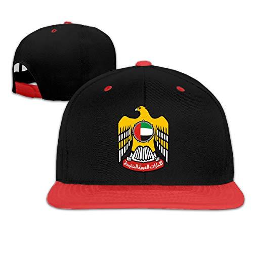Kids Coat of Arms of United Arab Emirates Outdoor Hip Hop Tennis Cotton Sanpback Cap Hat Adjustable Red