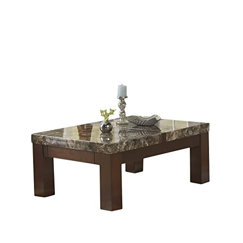 Ashley Furniture Signature Design - Kraleene Coffee Table - Cocktail Height - Rectangular - Dark Brown with Faux Marble Top