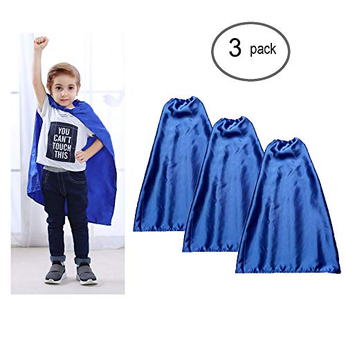 YIISUN Blue Capes for Kids Capes for Boys Birthday Party Favors for Kids Satin Capes (3 Pack)(Blue)