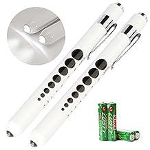 Opoway Nurse Penlight with Pupil Gauge LED Pen Light Flashlight for Healthcare Measurements Nursing School Doctor Diagnostic with Reusable Batteries Free Warm White Pack of 2