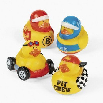 Fun Express Rubber Ducky Duck Duckie Race Car Birthday Party Favors Set (12 ()
