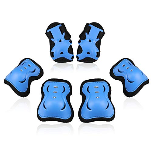 BOSONER Kids/Youth Knee Pad Elbow Pads Guards Protective Gear Set for Rollerblade Roller Skates Cycling BMX Bike Skateboard Inline Skatings Scooter Riding Sports (Black/Blue, Medium(9-15 Years)) ()