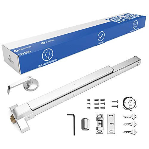 Panic Bar Exit Device - Push Bar for Exit Doors & Exit Lever with Key - UL Listed - Aluminium Silver Finish - Fitting Instructions ()