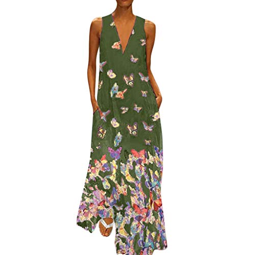 TEVEQ Women Maxi Dress Casual Vintage Dress Floral Sleeveless Loose Party Long Dress Bohemia Dress Army Green
