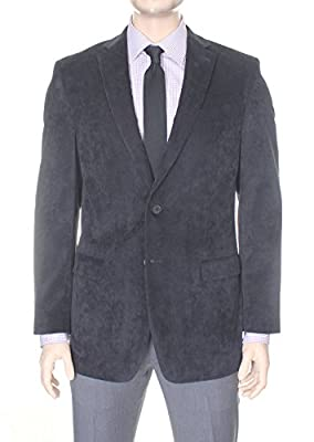 Calvin Klein Mens Black Corded Velour Stretch Blazer Sportcoat