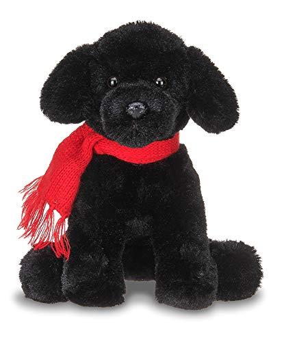 Bearington Cole Plush Stuffed Animal Black Lab Puppy Dog with Scarf, 6 ()