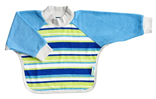 Kiddologic bibit-all Baby & Toddler Long Sleeved Full Coverage Pullover Waterproof Terry Bib (12-36 months (toddler), sky blue stripe) (Stripes Bib Toddler)
