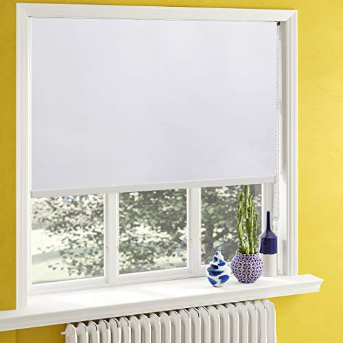 Keego Window Shades Black Out for Bedroom Room Darkening Roller Shades with Back in White to Thermal Waterproof and Oil Resistant for Privacy Nursery and Kitchens[White 100% Blackout,W35xH60(Inch)]