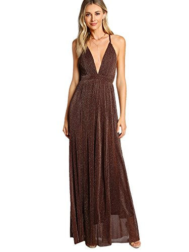 SheIn Women's Sexy Satin Deep V Neck Backless Maxi Party Evening Dress Coffee Medium