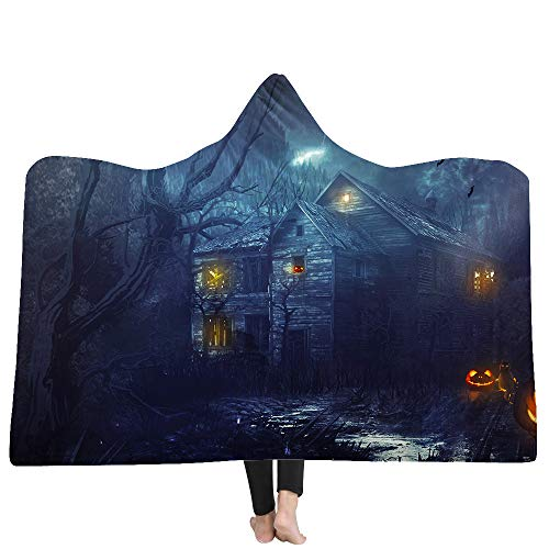 Hooded Blanket Horror Halloween Night Series Haunted House Pumpkin Print Luxuy Thickened Hypoallergenic Sherpa Fleece Blanket Ultra Soft and Warm Winter TV Computer Throwing Blanket for Adults & Kids