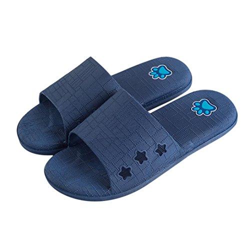 Cooljun Männer Lattice Flat Bad Hausschuhe Sommer Sandalen Indoor & Outdoor Hausschuhe Dark Blue