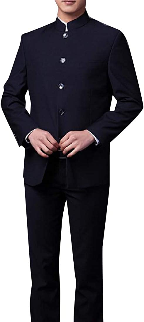 Unastar Mens Slim Fit Chinese Tunic Suit Plain-Front Pant 2-Piece