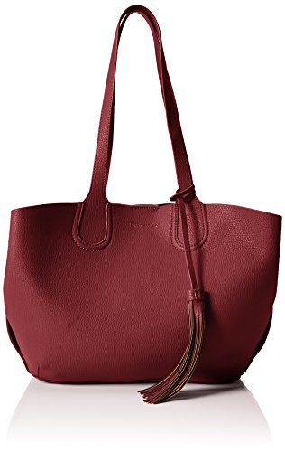 Tamaris Damen Manon Shopping Bag Shopper, 41x28x12 cm Rot (Bordeaux 549)